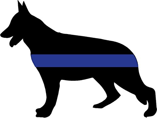 Sticker Dog Shepherd (Thin-blue line german shepherd 4x5 inches police blue dog law enforcement pride safety happiness rules funny humor america united states color sticker state decal vinyl - Made and Shipped in USA)