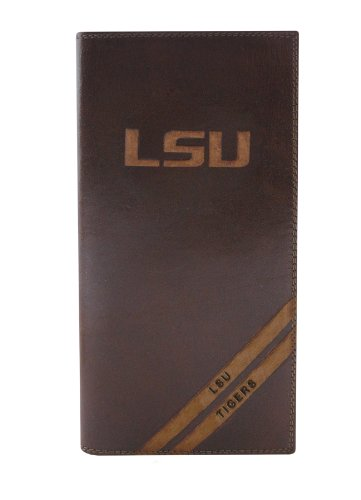 NCAA LSU Tigers Zep-Pro Pull-Up Leather Long Secretary Embossed Wallet, Brown
