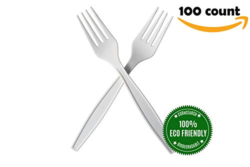 HeloGreen Biodegradable Compostable 7'' Forks, Eco-friendly Cornstarch Disposable Premium Cutlery Set, Microwavable – Heat Resistant Elegant Medium Weight Large (100-Count Package) by HeloGreen