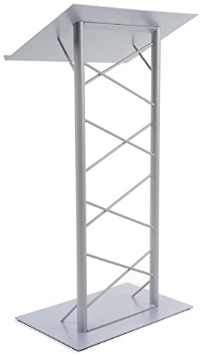 - Truss Lectern with Lattice-Style Post, 47-inch-Tall Floor-Standing Podium with 7/8-inch Lip, Steel - Silver