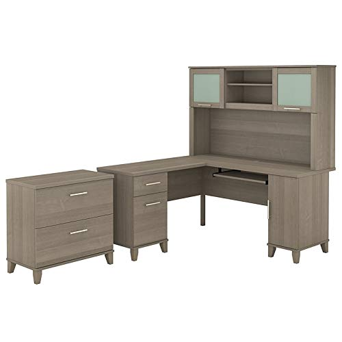 - Bush Furniture Somerset 60W L Shaped Desk with Hutch and Lateral File Cabinet in Ash Gray