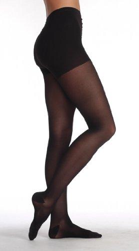 Juzo Hostess Pantyhose With High Elastic Body Part 20-30mmHg Closed Toe, IV, Black