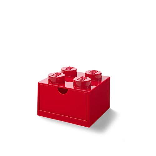 LEGO 40201730 Desk Drawer 4 knobs Stackable Storage Box, Red -