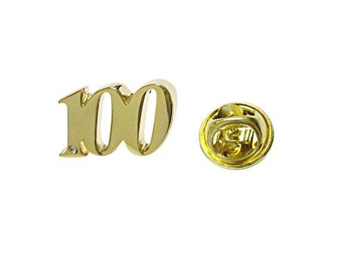 Gold Toned Age 100 Lapel Pin -