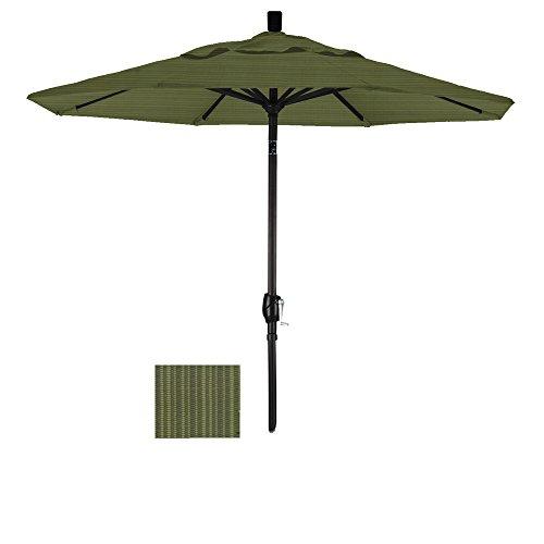 California Umbrella 7-1/2-Feet Olefin Fabric Aluminum Push Button Tilt Market Umbrella with Black Pole, Ridge Fern