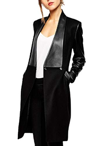 en Fall Winter Parka Outwear Fit Trench Coat Cardigan Black S (Animal Print Trench Coat)