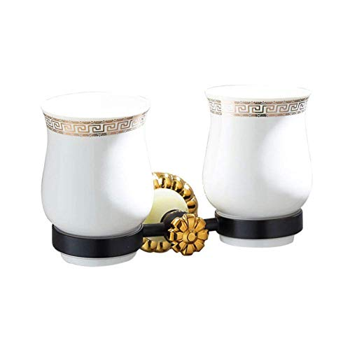 (Toothbrush Cup Holder Black Ancient Gold Brushed Cup Holder Carved Ceramic Double Cup)