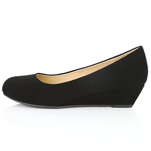 DailyShoes Women's Comfortable Fashion Low Heels Round Toe Wedge Pumps Shoes, Black Nubuck PU Leather, 8 B(M) US by DailyShoes (Image #7)