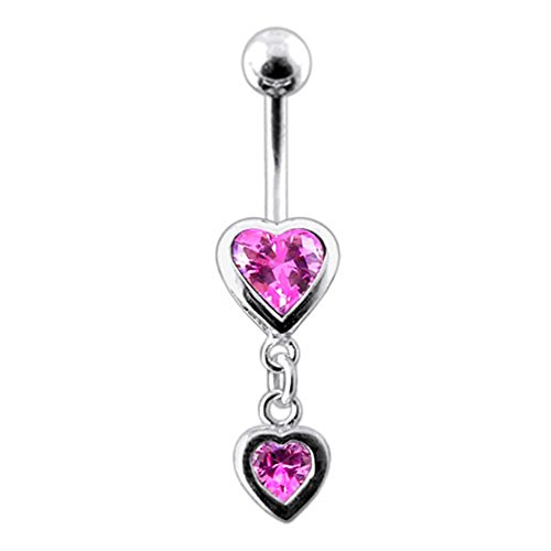 Pink Gemstone Fancy Double Heart Dangling 925 Sterling Silver with Stainless Steel Belly Button Rings