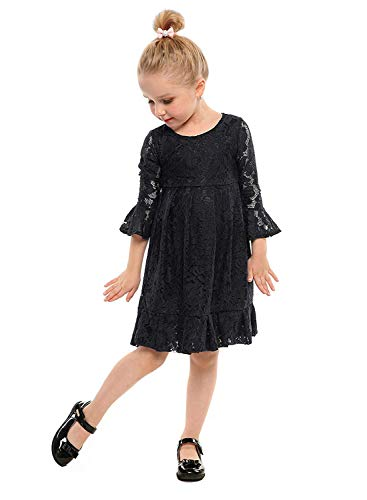 BELS Baby Girls Princess Dress Lace Flower White Party Wedding Summer Dress Clothes (Black, 6-7T) -