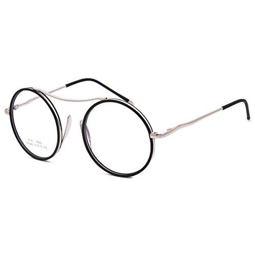VINN Eyeglasses Round Oversize Retro Classic Unique Eyewear (Silver Black  Rim) 2cc9c62ca48f4