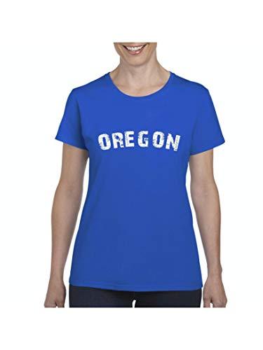 Oregon State Flag Portland City Traveler`s Gift Women's Short Sleeve T-Shirt (XLRB) Royal -