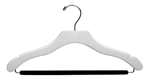 The Great American Hanger Company Wooden White Finish Hanger with Non-Slip Bar & Notches (Box of 100) by The Great American Hanger Company