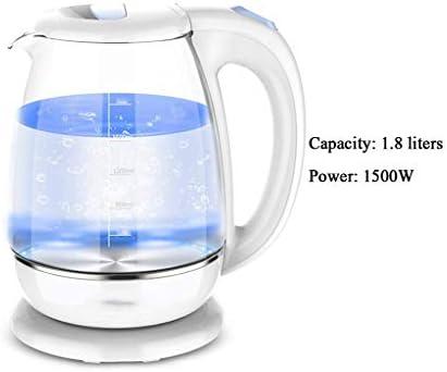 WEWE Bouilloire électrique en Verre - 1,8 Litre Bleu LED illuminé Bureau portatif Auto Mise Hors Tension Automatique en Acier Inoxydable Bouilloire à thé à ébullition Rapide Blanc