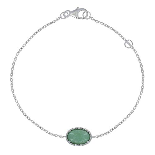 Les Poulettes Jewels - Silver Rhodium Bracelet Oval of Aventurine