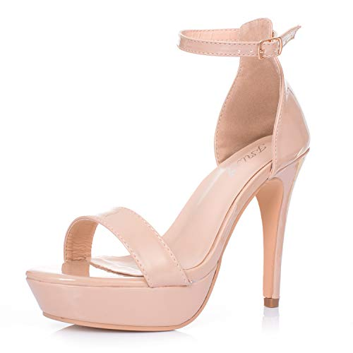 (JSUN7 Women's High Heel Platform Sandals Open Toe Block Glossy PU Ankle Strap with Buckle Platform Sandal Stiletto Heels Fashion Party Shoes for Women Nude)