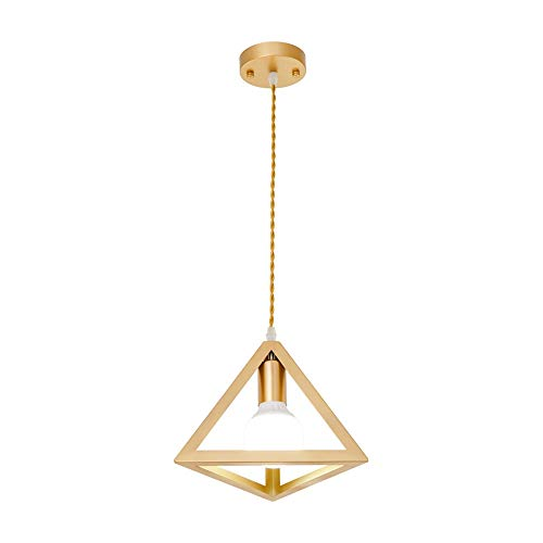 - FTLY Nordic E27 Small Hollow Diamond Restaurant Ceiling Pendant Light Modern Simple Metal Iron Single Head Chandelier Bar Dining Room Study Decorative Hanging Light (Color : Gold)