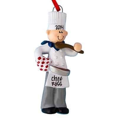 Chef Ornament Christmas - Chef Personalized Ornament - (Unique Christmas Tree Ornament - Classic Decor for A Holiday Party - Custom Decorations for Family Kids Baby Military Sports Or Pets)