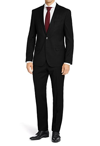 Price comparison product image MDRN Uomo Mens Classic Fit 2 Piece Suit,  Black,  Size 38Sx32W