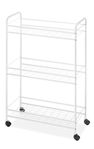 Chrome Open Base Utility Cart - Whitmor Slim Rolling Household Cart - White