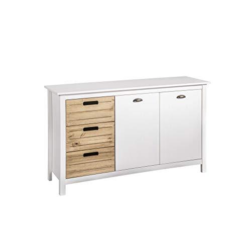 Manhattan Comfort CS87208 Irving Modern Rustic Buffet Sideboard Cabinet White/Natural ()