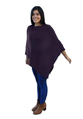 Emji 100% Cashwool® Merino Wool Ribbed-Knit Poncho, Luxury Pullover Poncho with 2x1 Rib Knit Pattern, Purple by Emji