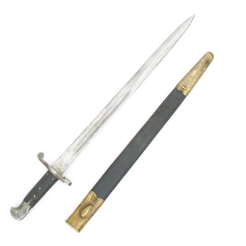 tini-Henry Rifle P-1887 MkI Sword Bayonet with Brass Mounted Leather Scabbard (Sword Bayonet)