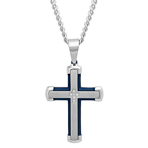 Jewelry Nation Stainless Steel White with Blue IP Finish .05cttw Round-Cut Diamond (H-I Color, I2-I3 Clarity) Men's Cross Pendant Necklace with 24
