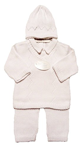 Boy's White 3 Piece Cotton Knit Outfit - 18 Month