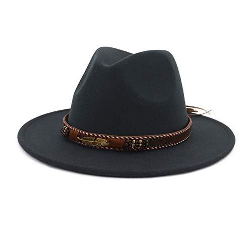 "Vim Tree Men Women Ethnic Felt Fedora Hat Wide Brim Panama Hats with Band D-Grey L (Head Circumference 22.8""-23.6"")"