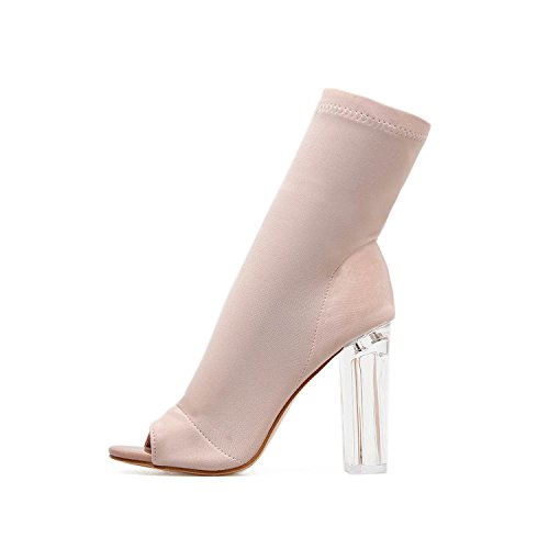 Summer Sandals Gladiator High Heels Women Sexy Peep Toe Stilettos PumpsBlack Ankle Boots for Summer,Apricot,6