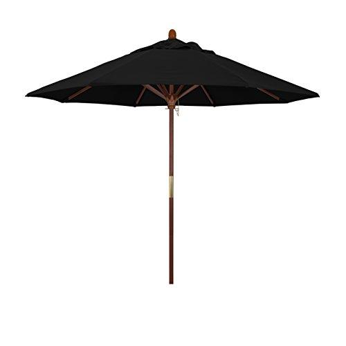 California Umbrella 9' Rd. Wooden Market Umbrella, Push Open Pin Stop , Sunbrella Black ()