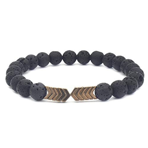 (VOWUA Bracelet Simple Personality Metal Arrow Volcanic Stone Natural Stone Men And Women Jewelry)