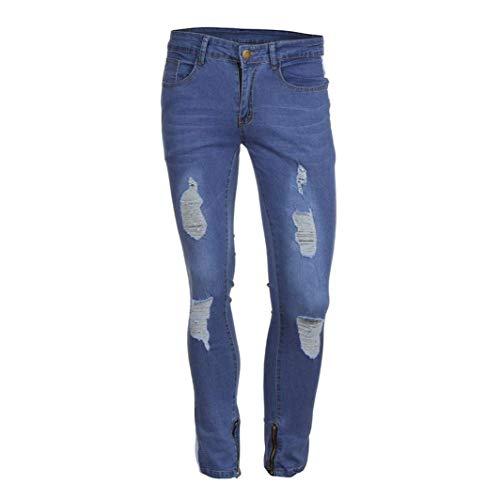 Jeans Elasticizzati Strappato Da Pantaloni Cerniera Fitness Bianca Aderenti Distressed Estivi Con Casual Uomo Skinny Slim Fit 4qttEXwUT