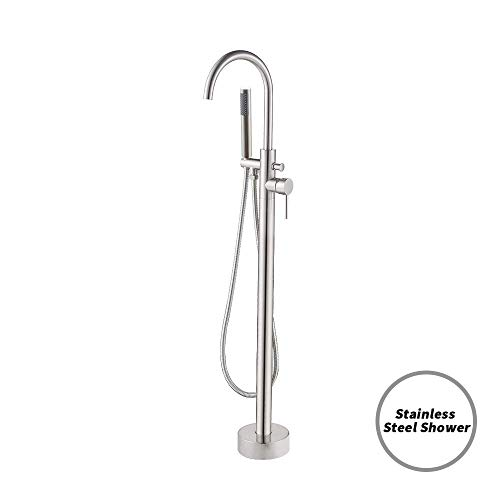 KES Free Standing Clawfoot Tub Filler Floor Mount Brass Faucet Tap Mixer with Stainless Steel Handheld Shower Single Handle, L5800-2