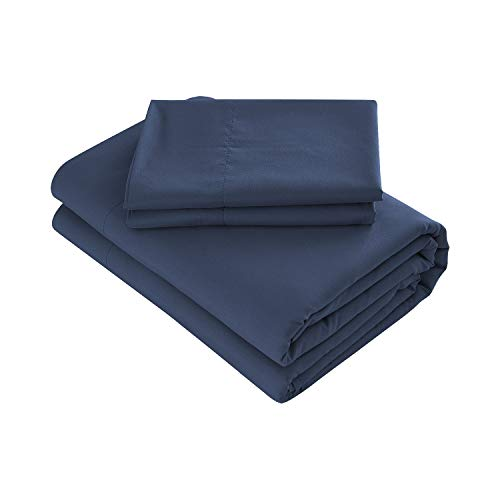 Deep Flat Sheet - Prime Bedding Bed Sheets - 3 Piece Twin Sheets, Deep Pocket Fitted Sheet, Flat Sheet, Pillow Case - Navy