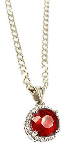 Stainless Round Ruby Pendant Necklace with 24