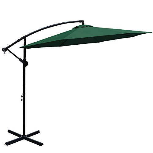 ABCCANOPY Offset Hanging Umbrella 10 FT Cantilever Umbrella Patio Umbrella Outdoor Market Umbrella with Crank & Cross Base for Garden, Deck, Backyard, Pool and Beach, 12+ Colors,(Forest Green-2)