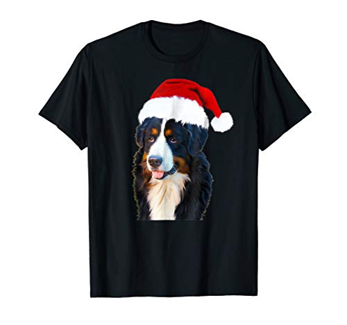 Bernese Mountain Dog Santa Claus Hat Merry Christmas T-Shirt