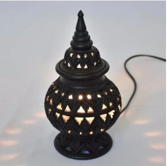Pottery, lanterns, fine Thai designs, smooth edges, home decoration size 14x14x24 cm black (Black)