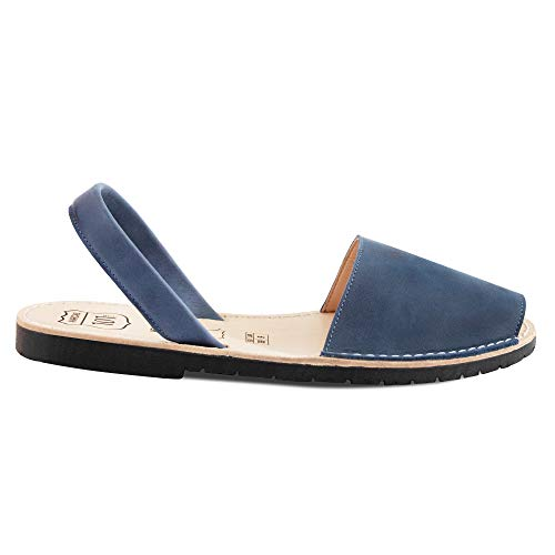 Avarcas Sandals for Women - Handmade in Spain with Natural Leather- Slip on/Slingback Flats (US 6 (EU 36), Midnight Blue)