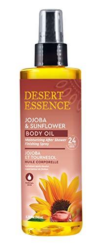 Desert Essence Jojoba & Sunflower Body Oil - 8.28 fl oz - Moisturizing After Shower Finishing Spray - 24 Hour Moisture - Skin Glow, Suppleness - Vitamin Enriched - Shea Butter - Apricot Oil
