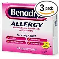 Benadryl Allergy, Diphenhydramine Hydrochloride Antihistamine, Ultratab  Tablets - 24 count (Pack of 3