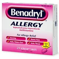 Hydrochloride Benadryl Diphenhydramine - Benadryl Allergy, Diphenhydramine Hydrochloride Antihistamine, Ultratab Tablets - 24 count (Pack of 3)