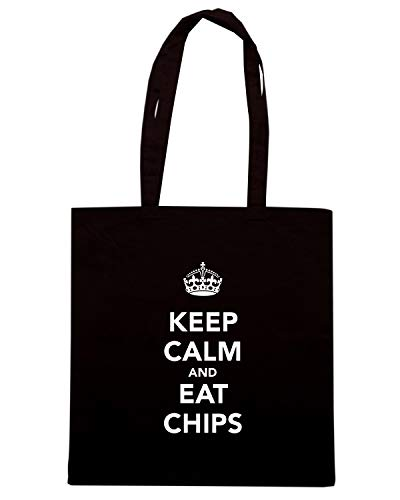 Shirt CHIPS AND Speed KEEP Nera EAT Borsa Shopper CALM TKC2700 P1qwBg71