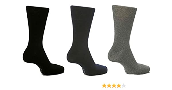 Sock Shop Mens Gentle Grip Plain Socks By Honeycombe Wide Top 6Pk