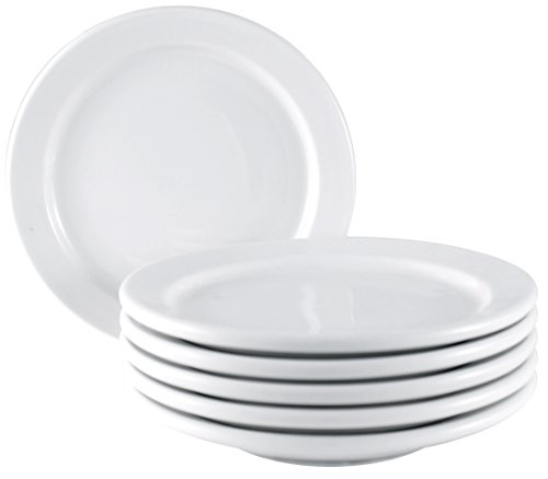 ITI Brighton Ceramic Appetizer Plates with Pan Scraper, 6-Pack (5.50 Inch, Pure White)