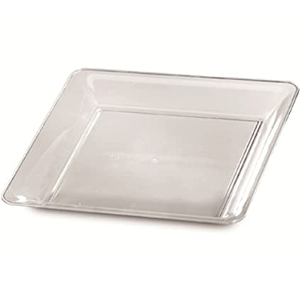 "25 Clear Plastic Trays Disposable platters 12"" by 12"" Square Plastic Serving Trays Catering"