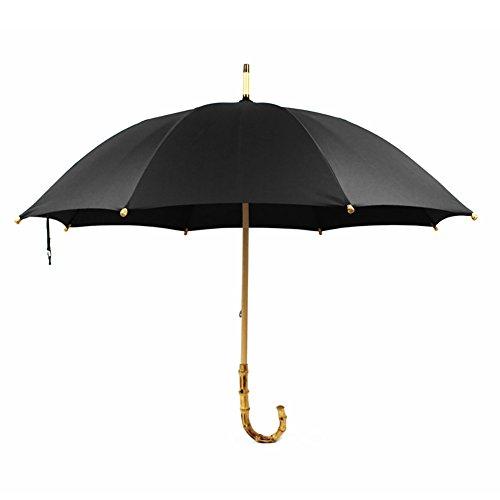 Vintage Bamboo Long Umbrella Rain Sunny Double Use Wood Handle Dualbrella Stick Umbrella Man Women (Color : Black)