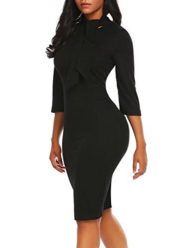 Black Sequin Bow Dress (ACEVOG Women's Bow Turtleneck Solid Bodycon Evening Party Pencil Dress)